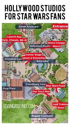 Map of Star Wars Stuff at Hollywood Studios